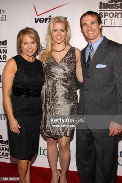 Katie Couric, Brittany Brees and Drew Brees attend 2010 Sports Illustrated Sportsman Of The Year Award Presentation at The IAC Building on November...