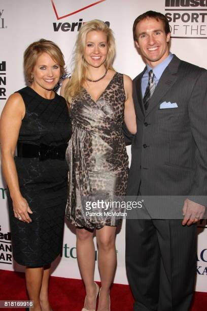 Katie Couric Brittany Brees and Drew Brees attend 2010 Sports Illustrated Sportsman Of The Year Award Presentation at The IAC Building on November 30...