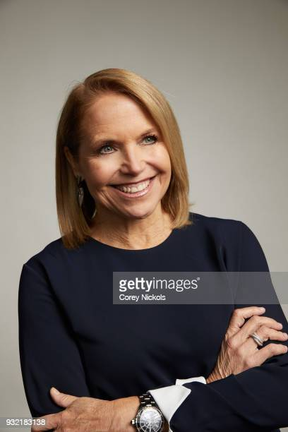 Katie Couric from the show 'America Inside Out with Katie Couric' poses for a portrait in the Getty Images Portrait Studio Powered by Pizza Hut at...