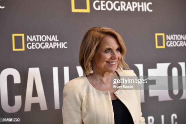 Katie Couric Host and Executive Producer attends National Geographic's premiere screening of AMERICA INSIDE OUT WITH KATIE COURIC on April 9 2018 in...