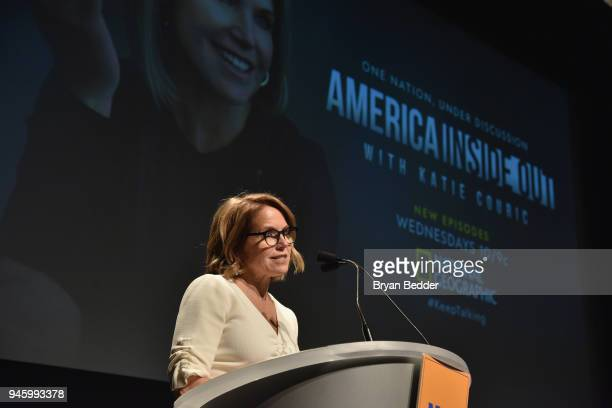 Katie Couric Host and Executive Producer speaks onstage during National Geographic's special screening of AMERICA INSIDE OUT WITH KATIE COURIC in...