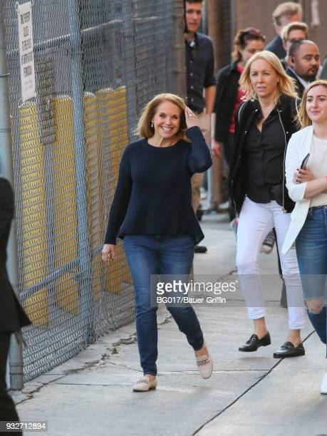 Katie Couric is seen arriving at 'Jimmy Kimmel Live' on March 15 2018 in Los Angeles California