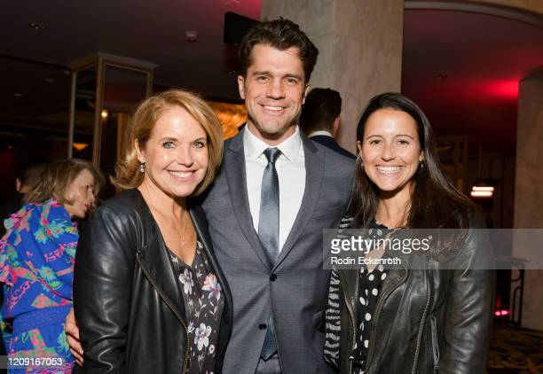 Katie Couric Jeff Wadlow and Caroline Couric Monahan pose for portrait at The Women's Cancer Research Fund's An Unforgettable Evening 2020 at Beverly...