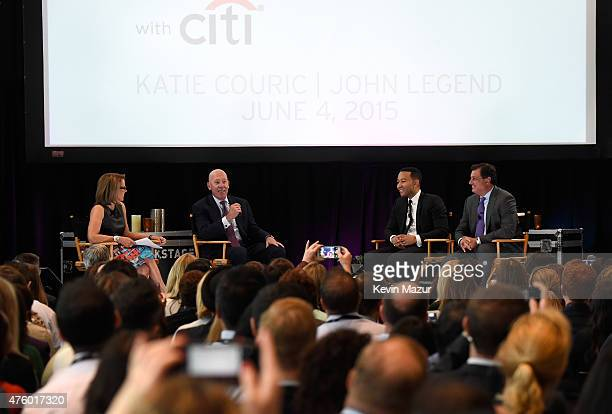 Katie Couric Jud Linville CEO Citi Card John Legend and Ralph Andretta Head of North America Branded Cards Citigroup speak onstage during Backstage...