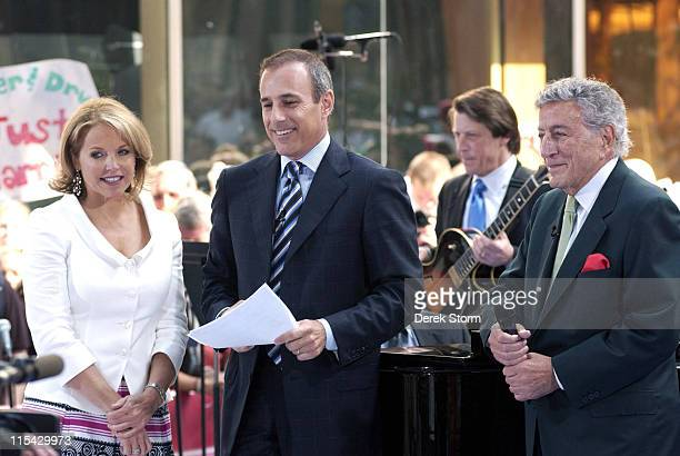 Katie Couric Matt Lauer Tony Bennett during The 'Today Show' says Farewell to Katie Couric at Dean Deluca Plaza in New York City New York United...