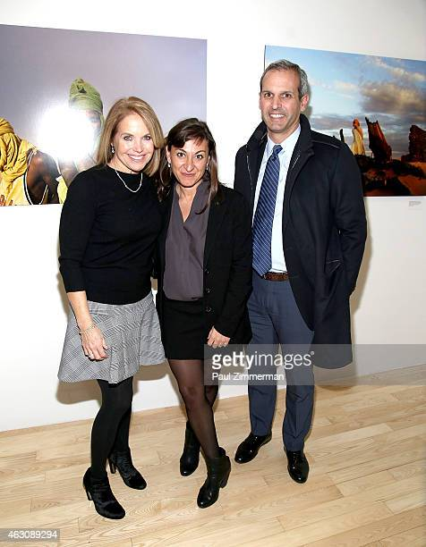 Katie Couric photographer Lynsey Addario and John Molner attend the Lynsey Addario's Book Launch Party 'It's What I Do' on February 6 2015 in New...