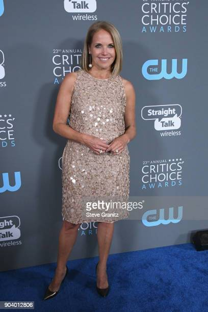 Katie Couric poses in the press room during The 23rd Annual Critics' Choice Awards at Barker Hangar on January 11 2018 in Santa Monica California