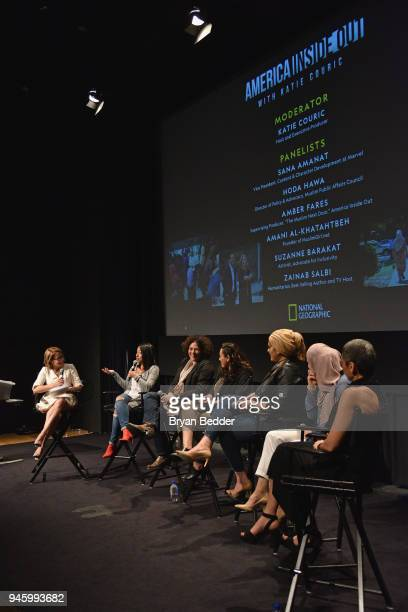 Katie Couric Sana Amanat Amber Fares Hoda Hawa Amani AlKhatahtbeh Suzanne Barakat and Zainab Salbi attend National Geographic's special screening of...