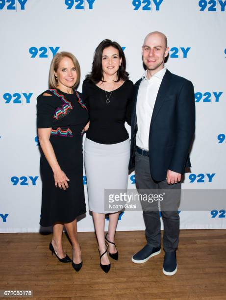 Katie Couric Sheryl Sandberg and Adam Grant visit 92nd Street Y on April 23 2017 in New York City