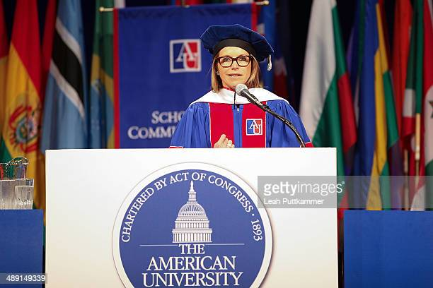 Katie Couric speaks at the American University 2014 Commencement Ceremony at Bender Arena at American University on May 10 2014 in Washington DC