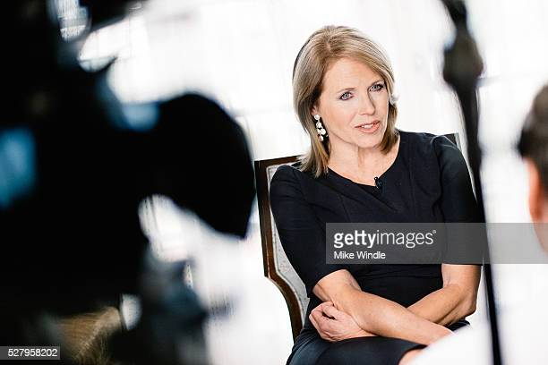 Katie Couric speaks during an interview promoting the EPIX Original Documentary 'Under The Gun' on May 3 2016 in Los Angeles California
