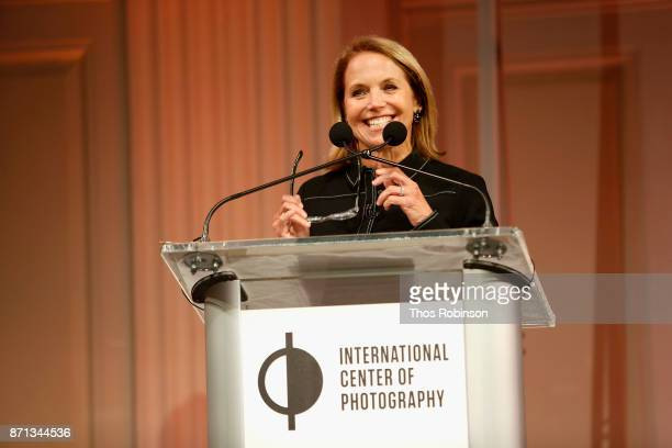 Katie Couric speaks on stage at The 2017 ICP spotlights luncheon honoring Pulitzer PrizeWinning photojournalist Lynsey Addario on November 7 2017 in...