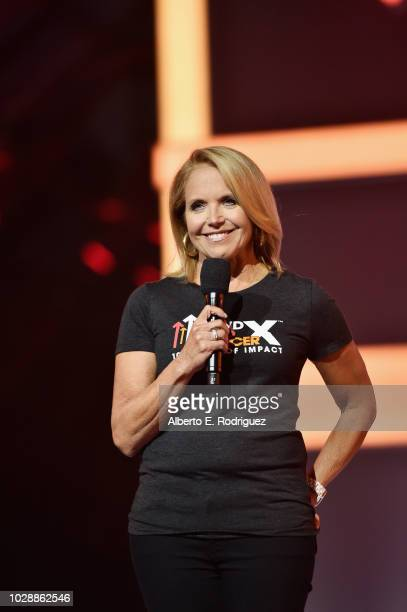 Katie Couric speaks onstage at the sixth biennial Stand Up To Cancer telecast at the Barkar Hangar on Friday September 7 2018 in Santa Monica...