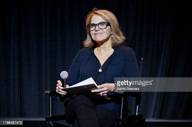 Katie Couric speaks onstage during a Special Screening Of National Geographic's OscarNominated Documentary The Cave with Film Subject Dr Amani...