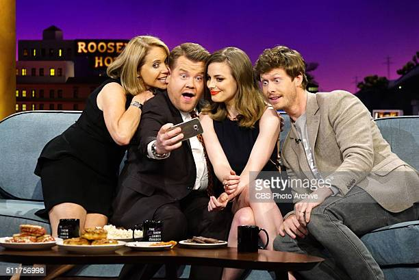 Katie Couric with James Corden Gillian Jacobs and Anders Holm on 'The Late Late Show with James Corden' Thursday February 18 on The CBS Television...
