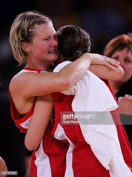 Katie Crowley of England cries tears of joy as she celebrates winning the bronze medal basketball match between England and Nigeria at the Multi...