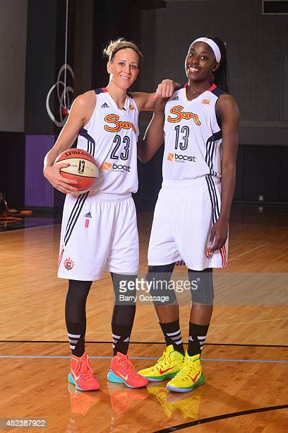 Katie Douglas and Chiney Ogwumike of the Connecticut Sun poses for a portrait prior to the 2014 Boost Mobile WNBA AllStar Game on July 19 2014 at US...