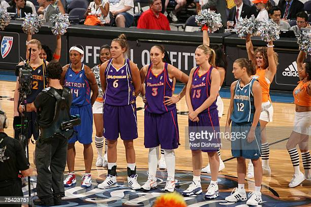 Katie Douglas of the Connecticut Sun Deanna Nolan of the Detroit Shock Sidney Spencer of the Los Angeles Sparks Dianna Taurasi of the Phoenix Mercury...