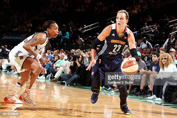 Katie Douglas of the Connecticut Sun drives against the New York Liberty at Madison Square Garden in New York City on June 29 2014 NOTE TO USER User...