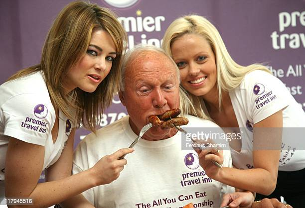 Katie Downes Stuart Hall and Malene Espensen during All You Can Eat Breakfast Eating Championship at Premier Travel Inn Photocall April 23 2007 at...