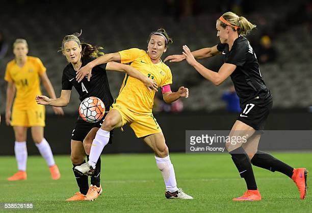 Katie Duncan of New Zealand and Lisa De Vanna of Australia compete for the ball during the Women's International Friendly match between the Australia...