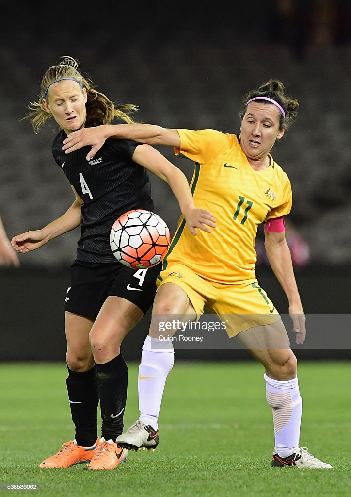 Katie Duncan of New Zealand and Lisa De Vanna of Australia compete for the ball during the Women's International Friendly match between the Australia Matildas and the New Zealand Football Ferns at Etihad Stadium on June 7, 2016 in Melbourne, Australia.