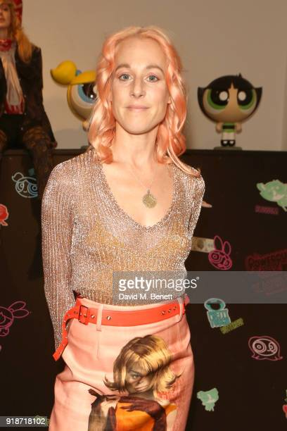 Katie Eary attends the Katie Eary x The Powerpuff Girls - Skate Park Party during London Fashion Week February 2018 at Maddox Gallery on February 15,...