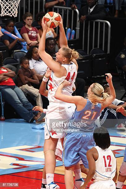 Katie Feenstra of the Atlanta Dream grabs a rebound in front of Brooke Wyckoff of the Chicago Sky during the WNBA game on June 6 2008 at Philips...