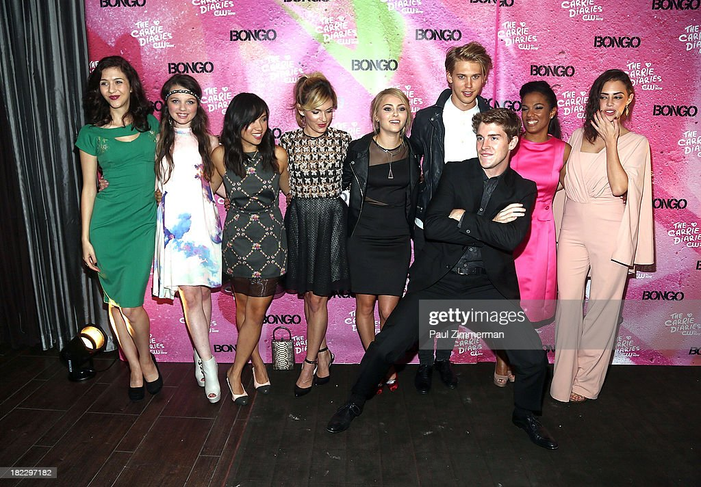 Katie Findlay, Stefania Owen, Ellen Wong, Lindsey Gort, AnnaSophia Robb, Austin Butler, Brendan Dooling, Freema Agyman and Chloe Bridges attend 'The Carrie Diaries' Season Two Premiere Party at Gansevoort Park Avenue on September 28, 2013 in New York City.