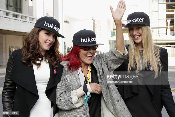 Katie Finnegan Patricia Field and Erica Bell attends the Hukkstercom and Patricia Field Cut Up NYFW event at Empire Hotel on September 9 2013 in New...