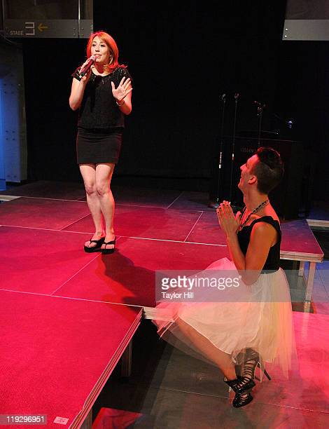 Katie Gassert performs for Marti Gould Cummings at a birthday party at New World Stages on July 16 2011 in New York City