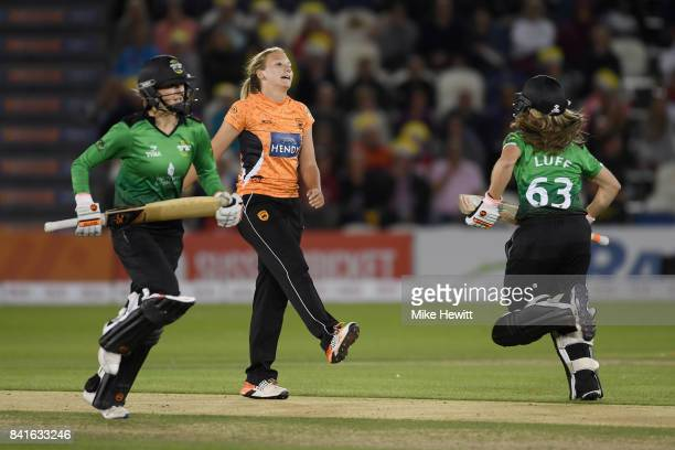 Katie George of Southern Vipers kicks the ground in frustration after Sophie Luff of Western Storm edges the ball for four during the Women's Kia...
