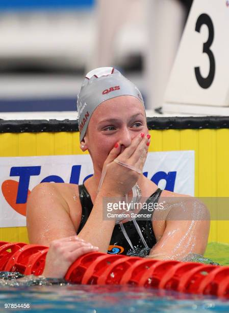 Katie Goldman of Queensland reacts after winning the women's 800m freestyle final during day four of the 2010 Australian Swimming Championships at...