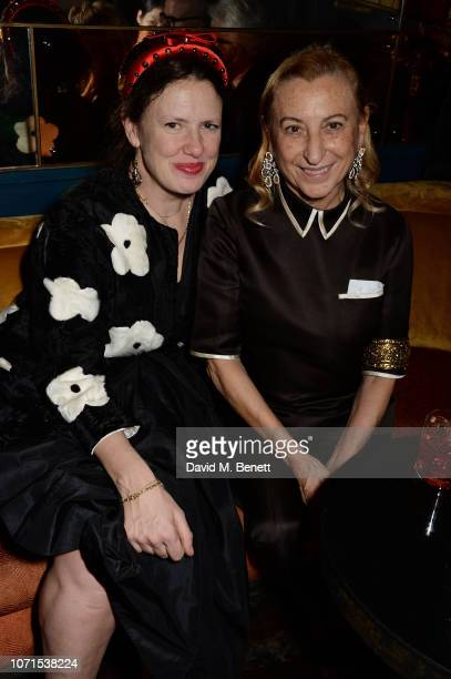 Katie Grand and Miuccia Prada attend a party hosted by Katie Grand and Jefferson Hack in honour of Miuccia Prada winner of the Outstanding...