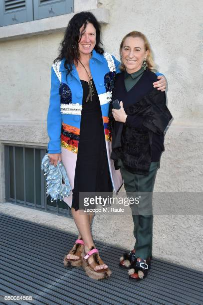 Katie Grand and Miuccia Prada attend a 'Private view of 'TV 70: Francesco Vezzoli Guarda La Rai' at Fondazione Prada on May 7, 2017 in Milan, Italy.
