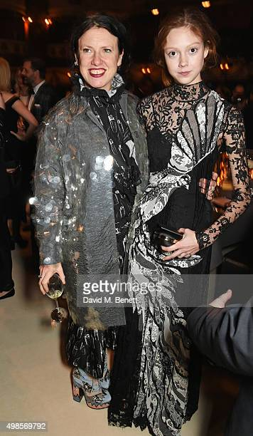 Katie Grand and Natalie Westling attend a drinks reception at the British Fashion Awards in partnership with Swarovski at the London Coliseum on...