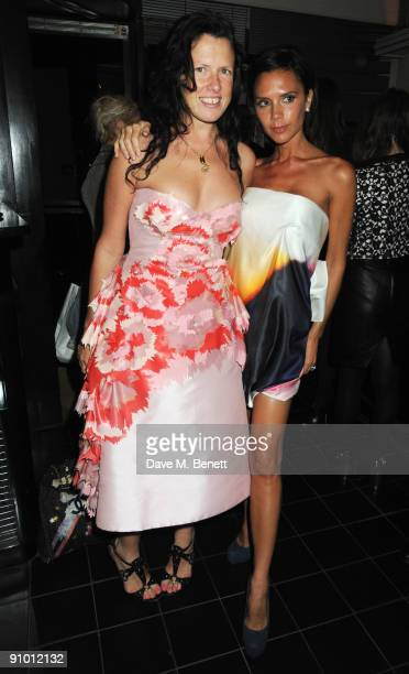 Katie Grand and Victoria Beckham attend the private dinner hosted by editor of British Vogue Alexandra Shulman in association with NetAPortercom in...