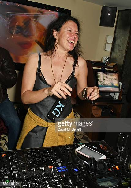 Katie Grand DJs at the LOVE Christmas Party hosted by Katie Grand and Poppy Delevingne at George on December 16 2016 in London England