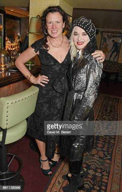 Katie Grand EditorinChief of Love Magazine and Pam Hogg attend the Love x Chaos x Poppy Delevingne x Moet Christmas Party at George on December 12...