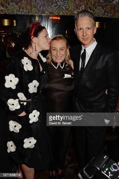 Katie Grand Miuccia Prada and Jefferson Hack attend a party hosted by Katie Grand and Jefferson Hack in honour of Miuccia Prada winner of the...
