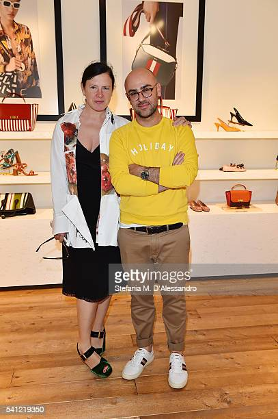Katie Grand with Bally Design Director Pablo Coppola at the Bally Men's Spring Summer 2017 Presentation during Milan Fashion Week on June 19 2016 in...