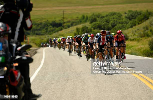 Katie Hall #1 with the US National Team leads the peloton Cyclists along Colorado Road 33 during Stage 1 of the Colorado Classic on August 22 2019 in...