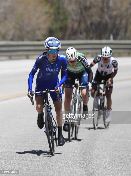 Katie Hall of the United States riding for UnitedHealthCare Pro Cycling leads Anna Van Der Breggen of the Netherlands riding for BoelsDolmans Cycling...