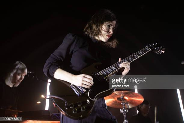 Katie Harkin and Carrie Brownstein of Sleater Kinney perform at Vicar Street on March 01, 2020 in Dublin, Ireland.