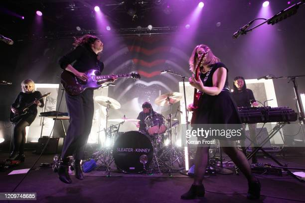 Katie Harkin, Carrie Brownstein, Angie Boylan, Corin Tucker and Toko Yasuda of Sleater Kinney perform at Vicar Street on March 01, 2020 in Dublin,...