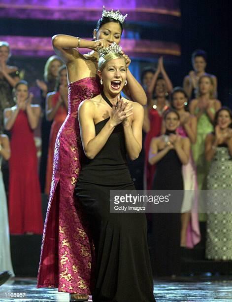Katie Harman is crowned Miss America 2002 by Miss America 2001 Angela Perez Baraquio SEptember 22 2001 in Atlantic City NJ