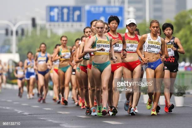 Katie Hayward of Australia leads during Women's 10 kilometres Race Walk of IAAF World Race Walking Team Championships Taicang 2018 on May 6 2018 in...