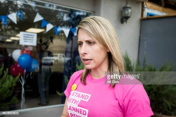 Katie Hill Democrat running for California's 25th Congressional district seat in Congress attends the opening of the SCV Democratic Headquarters for...