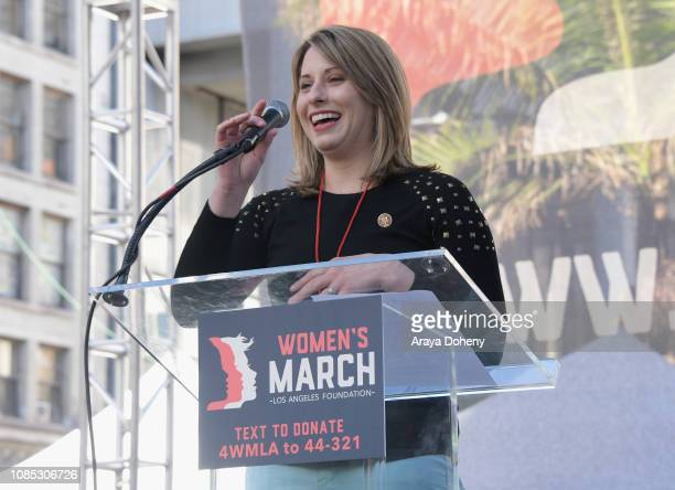 Katie Hill speaks onstage at the 2019 Women's March Los Angeles on January 19 2019 in Los Angeles California