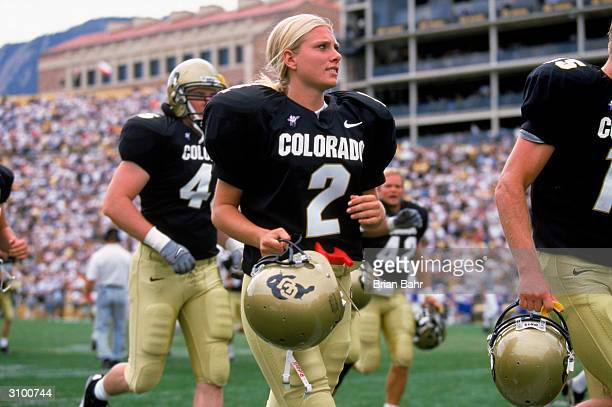 Katie Hnida of the University of Colorado heads off the field during the game against the University of Kansas at Folsom Field on September 18 1999...